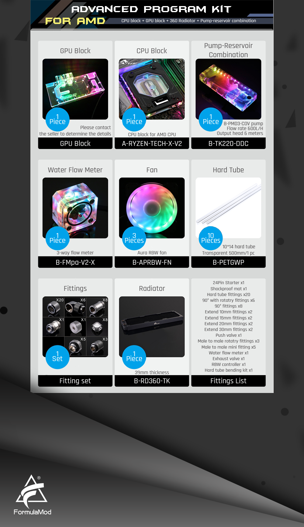 Bykski B-HTRGB-EX, RBW 5v 3pin Hard Tube Advanced Program Kits, For Intel/AMD Cooling Customizable Modification