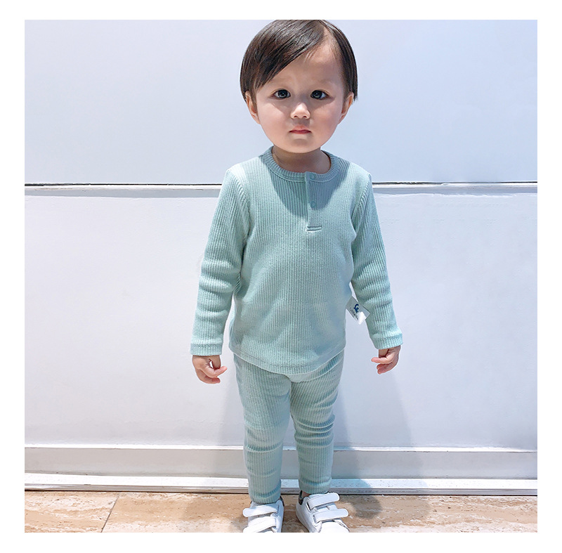 Soft Ribbed Toddler Girl Pajamas For Baby Boys Clothes Set Autumn Winter Children Outfits Long Sleeve Tops Pants 2 Pcs Kids Suit (21)