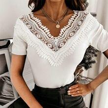 Camisas caladas de encaje para Mujer, blusa Sexy informal ajustada de manga corta sólido corto, blusa Blanca