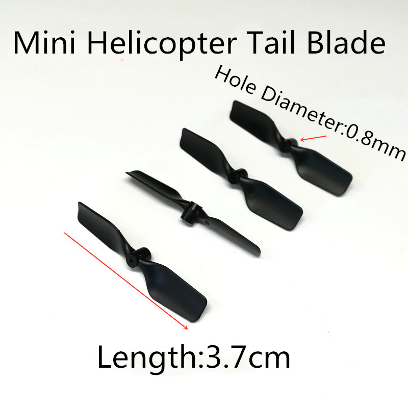 4pcs Free Shipping 3.7cm 37mm 0.8mm Tail Blade Rotor Prop For Mini R/C Helicopter Copter Spare Parts