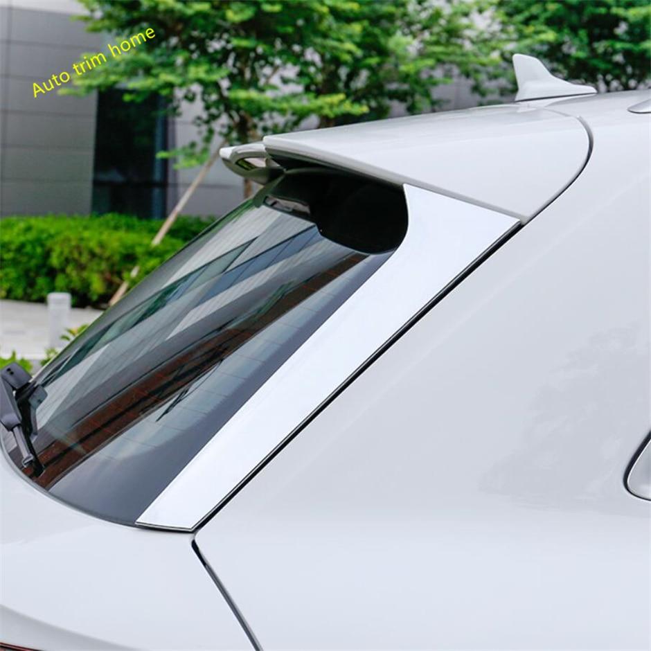 Lapetus Chrome Side Door Rear View Window Spoiler Cover Trim 2 Pcs Fit For Audi Q5 2018 ABS Carbon Fiber Auto Accessories