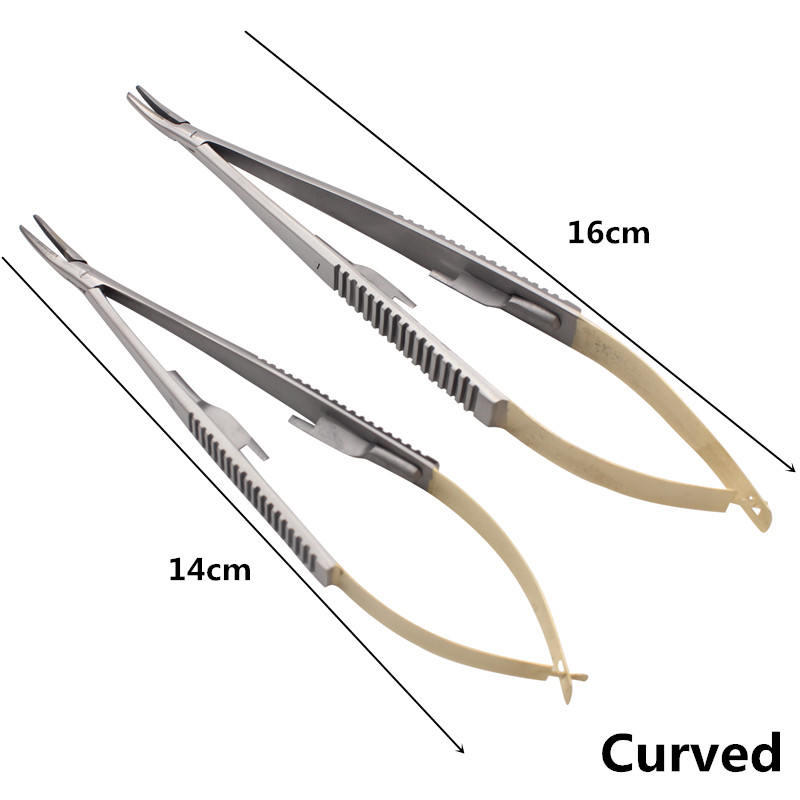 1 Pcs Curved Surgical Dental Orthodontic Implant Castroviejo Needle Holders 14cm 16cm Dental Lab Instrument Dentist Tools
