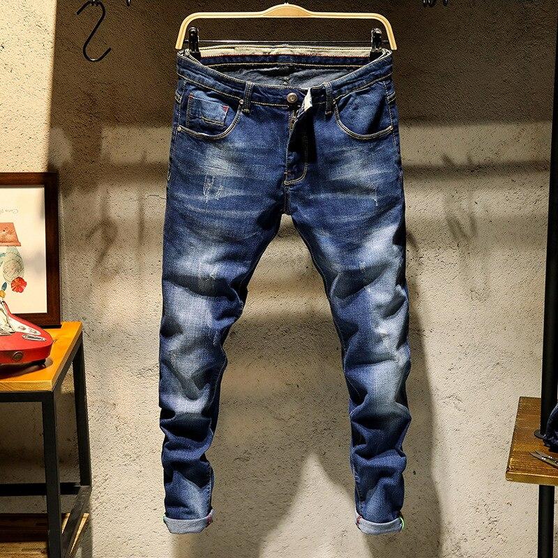 Spring And Summer Men Slim Fit Jeans Student Uniform Versatile Skinny Pants Korean-style Spring Thin MEN'S Trousers Teenager