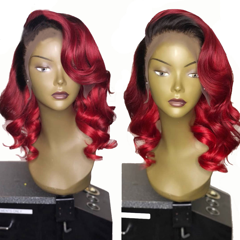 Eversilky 1B Red Burgundy Ombre 13x4 Lace Front Human Hair Wig  Deep Part Body Wave  Brazilian Remy Pre Plucked With Baby Hair
