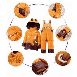 Image 4 - 2018 nuevos trajes de invierno para niños, chaqueta de plumón de pato para niños y niñas, abrigos y abrigos + Pantalones de 2 uds., conjunto cálido de Snowsuits para niñas