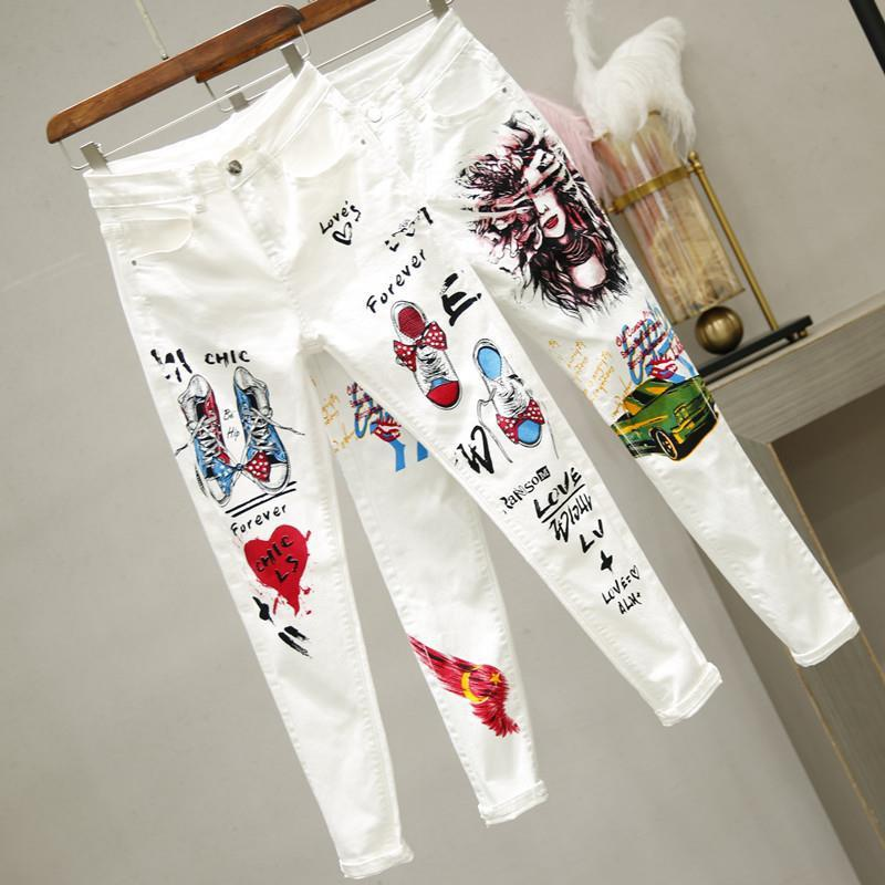 Women White Denim Pants Cartoon Graffiti Flowers Print Stretched Jeans Slim Body Capris Jeans