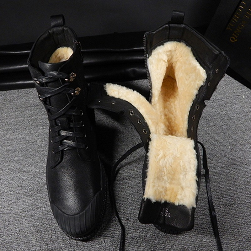 Winter Men Warm Wool Lining Snow Boots Top Quailty Real Leather Motorcycle Safety Shoes Platform Real Fur Liner Work Ankle Boots