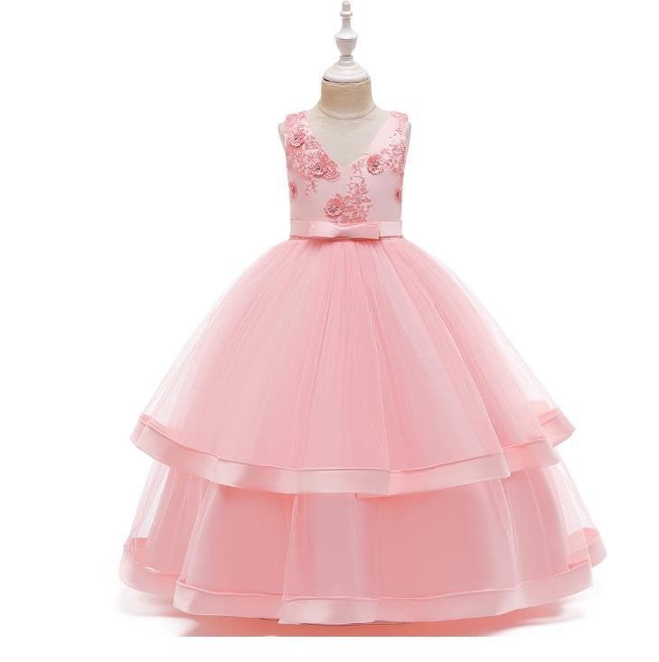 Flower Girl Dresses For Girls V-neck Elegant Kids Party Gowns Appliques Bow Christmas Dress Kids Size 2-12Years