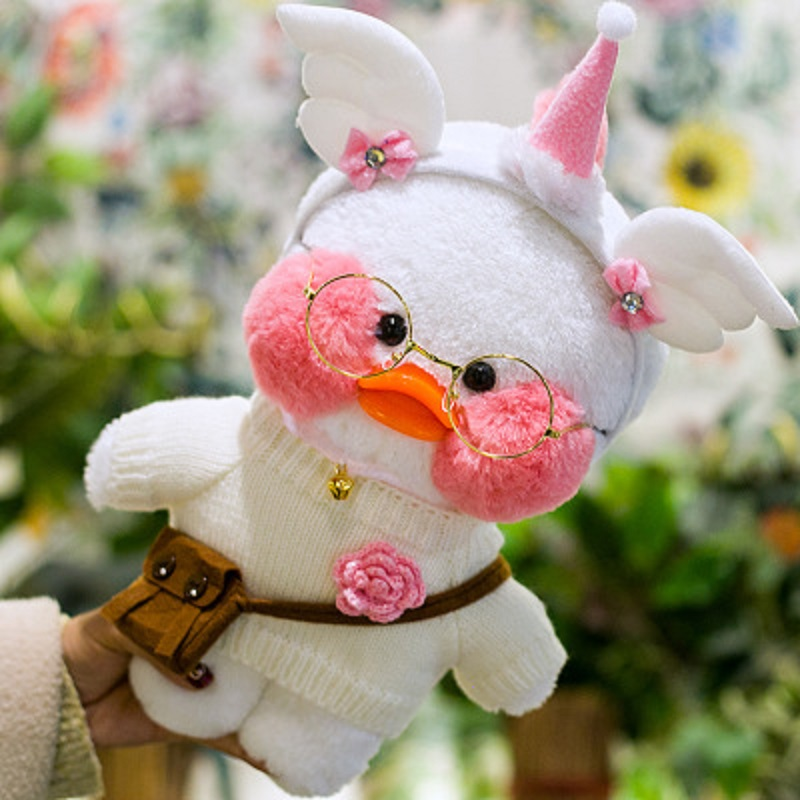 LaLafanfan Cafe Duck Plush Toy Cartoon Cute Duck Stuffed Doll Kids Toys Birthday Gift For Children 30cm White