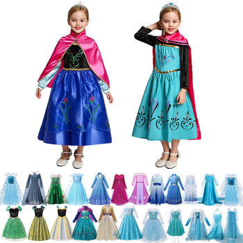 elsa gril kids fall outfits pyjama enfant anna princess birthday party roupas infantis menina halloween cosplay children clothes Girl Summer Dress Anna and Elsa Cosplay Costume Kids Halloween Party Fancy Dress Anna Elsa Girls Princess Role Playing Frocks