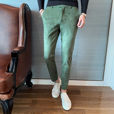 2019 Autumn New Fashion Suede Korean Men's Trousers Slim Business Fashion Casual Straight Trousers
