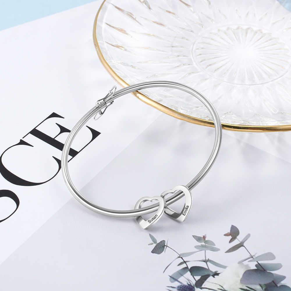 Personalizzato Braccialetto Del Braccialetto con il Cuore Pendenti con gemme e perle In Acciaio Inox Nomi Personalizzati Bracciali Gioielli di Famiglia Regalo Di Compleanno Donne