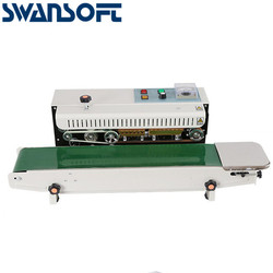 SWANSOFT FR-770 Automatic Heat Plastic Bag Foil Bag Band Sealer Machine Continuous Film Sealing Machine for coffee bags