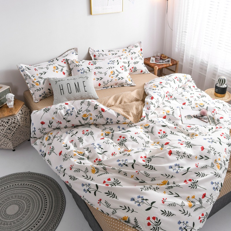 Claroom Flower Duvet Cover Bed Linens White Queen Size Bed Sheets Set Comforter Bedding Sets AS11#