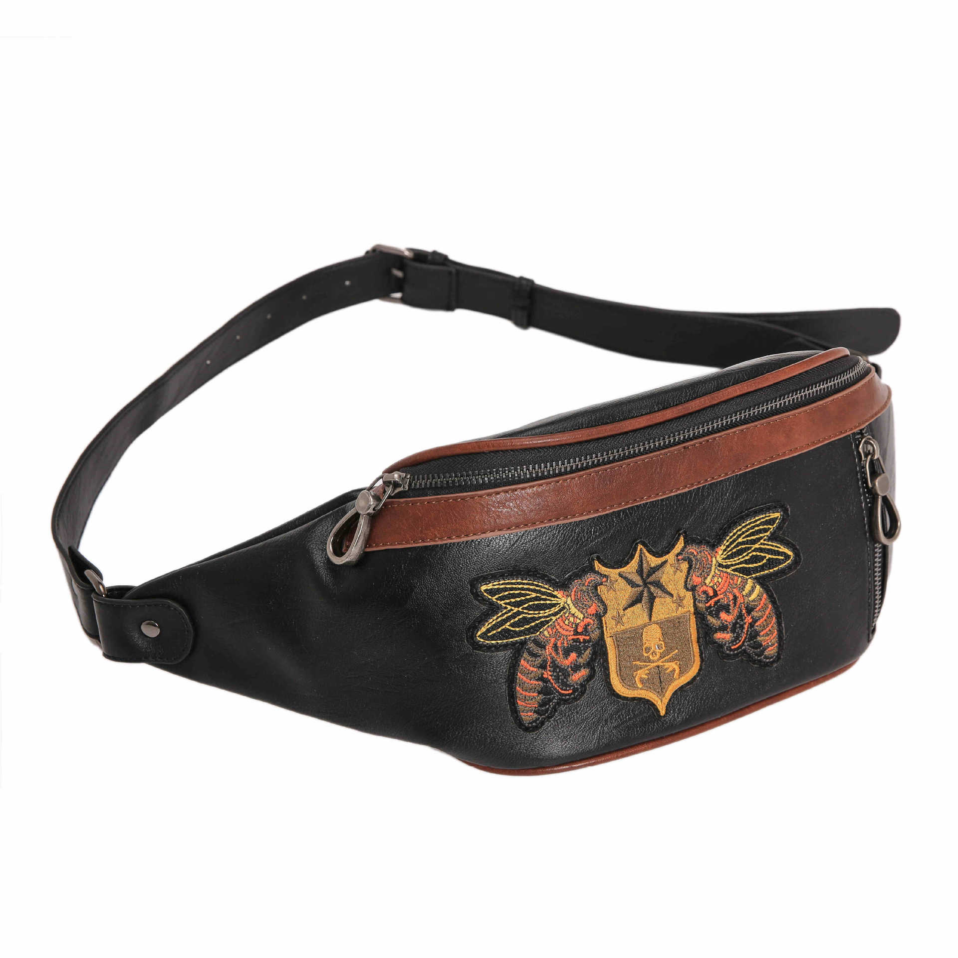2019 New Embroidery Pattern Chest Bag Fashion Men And Women Street Leather Small Chest Bag Han Version Chest Bag JIULIN