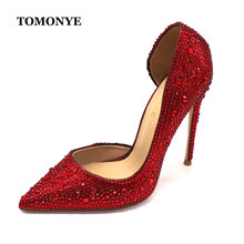 TOMONYE custom brand designer dark red crystal rhinetone pointed toe oepn inside women lady evening party high heel shoes pump(China)