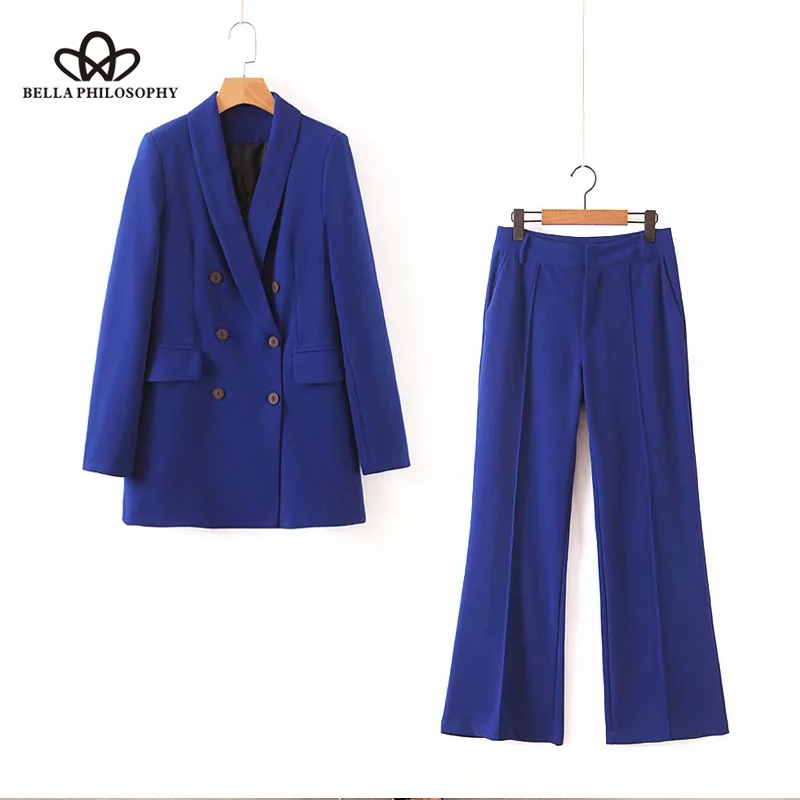Bella Philosophy 2019 Women Autumn New Blue Double Breasted Blazer Suit Office Lady Elegant Pants