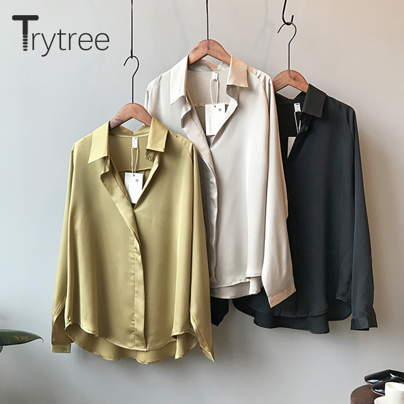 Ttytree Autumn Blouses Women Casual Turn-down Collar Button Chiffon Polyester Thin Tops Loose Shirts Solid Office Lady Blouse