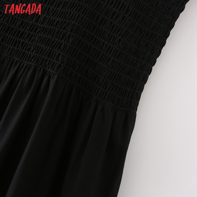 Tangada Women Black Cotton Dress Sleeveless Backless 2021 Fashion Lady Maxi Dresses 5X63 4