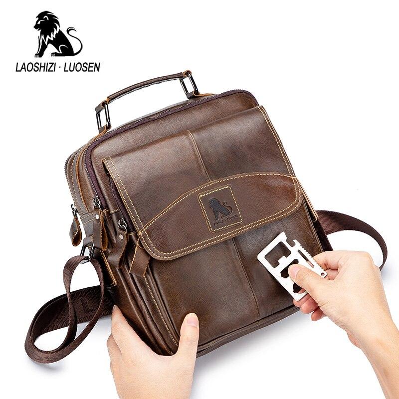 LAOSHIZI LUOSEN Men's Genuine Leather Shoulder Crossbody Bag Large Capacity Handbag For Male Small Business Flap Messenger Bag|Crossbody Bags| |  - title=