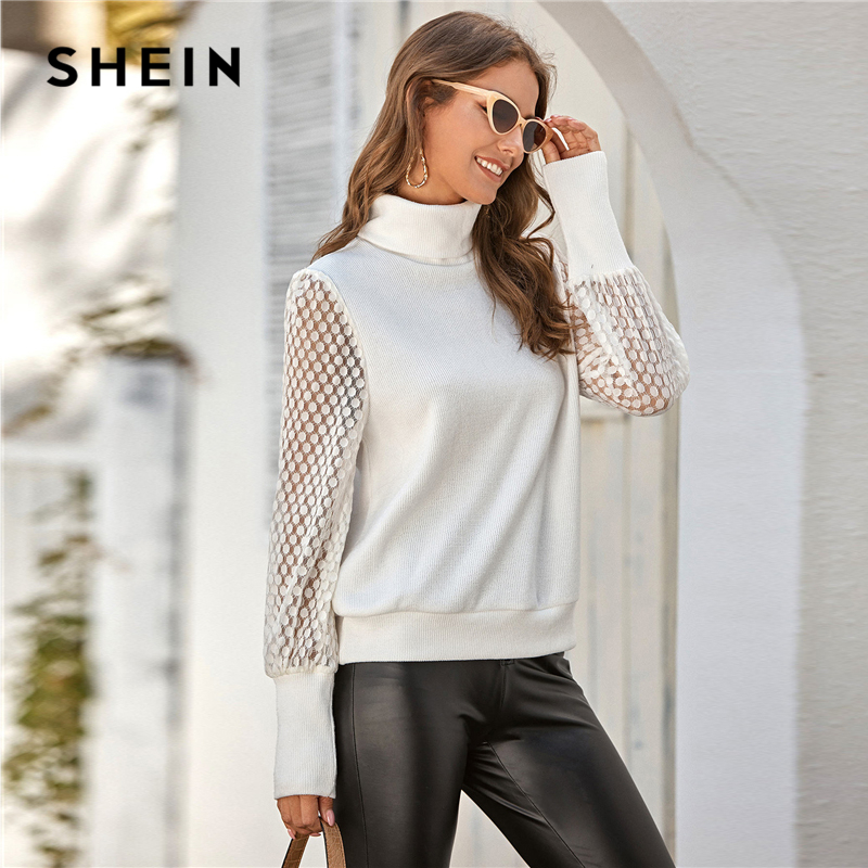 SHEIN White Funnel Neck Sheer Lace Sleeve Sweater Women Spring Autumn Office Ladies Ribbed Soft Solid Casual Jumper Sweaters