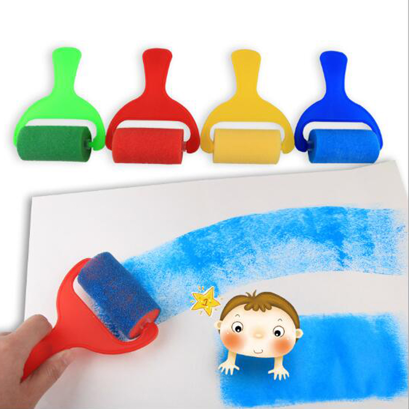 Sponge Paint Brushes For Art Foam Painting Roller Brush Kids Craft Tool Drawing Toys Painting Accessories 4pcs/pack