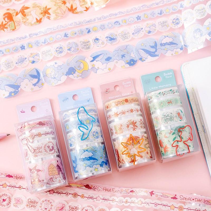 1set/1lot Washi Masking Tapes Pearlescent PET Decorative Adhesive Scrapbooking DIY Paper Japanese Stickers