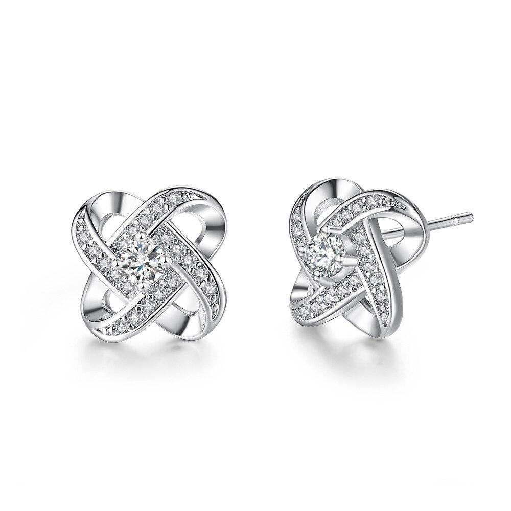 LE1348 gemme boucles d'oreilles rotatives boucles d'oreilles coeur simples et éternels