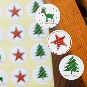 Image 5 - 108pcs Christmas Tree Seal Sticker Merry Christmas Deer Elk Star Paper Stickers Self Adhesive Paper Label Baking Gift Stickers