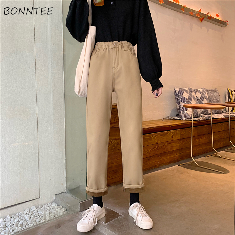 Jeans Women Plus Velvet Thicker Khaki High Waist Zipper Elastic Straight Simple School All-match Womens Trousers Chic Harajuku
