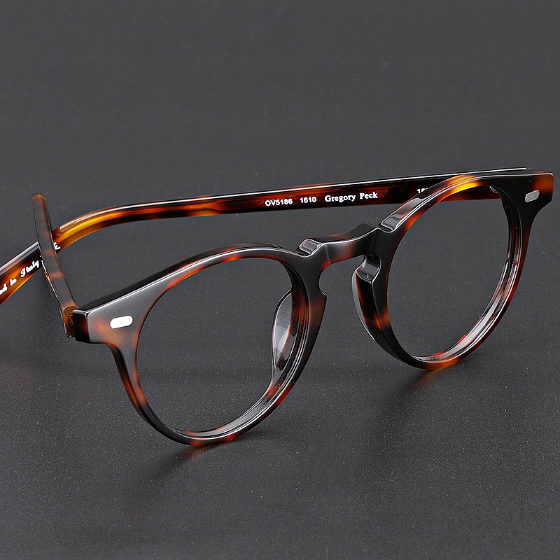 Round Vintage Acetate Eyeglasses Frames Gregory Peck OV5186 Women Prescription Myopia Optical Clear Frames Eyewear