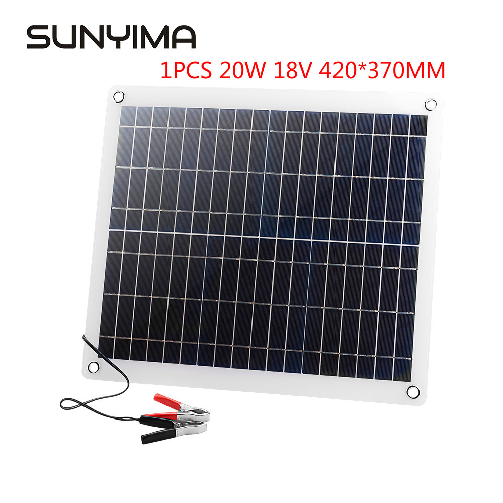SUNYIMA 20W 18V Semi Flexible Solar Panel Kit Solar Cell Module DC for Car Yacht Led Light RV 12V Battery Boat Outdoor Charger