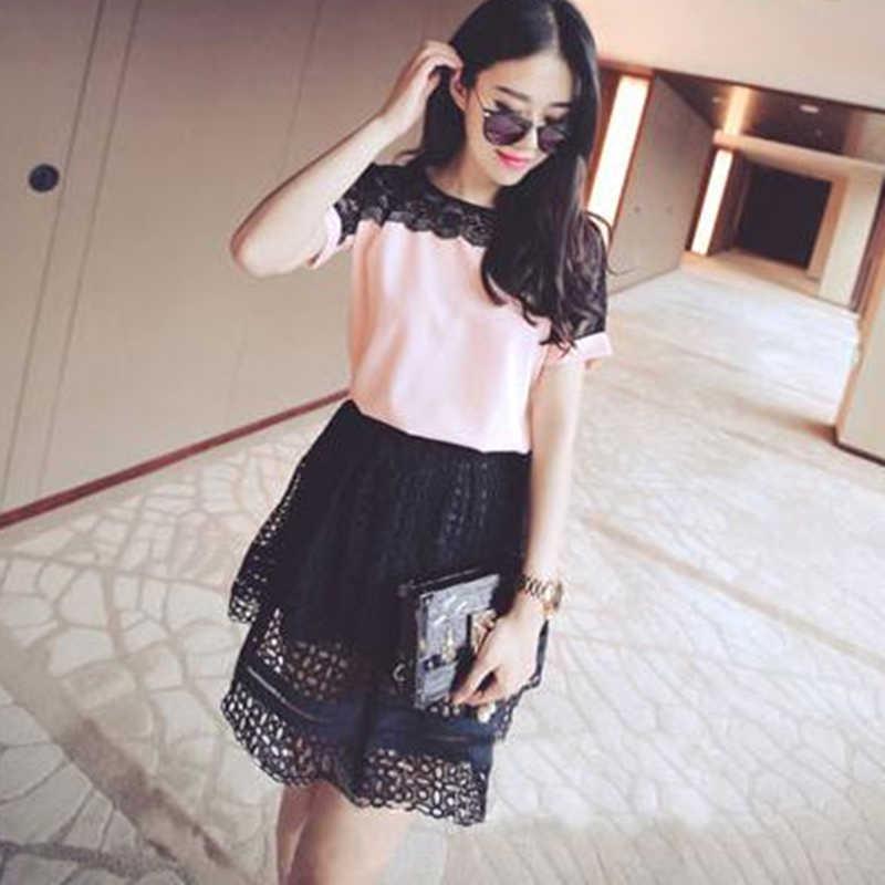 Koreański moda szyfonowa kobiety bluzki koronkowe z krótkim rękawem różowe koszule damskie Plus rozmiar 4XL/5XL bluzki damskie Blusas Femininas Elegante