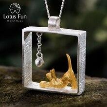 Colgante de oro de 18 quilates con forma de gato y pelotas para jugar, joyería fina, Lotus Fun, Navidad, Plata de Ley 925 auténtica