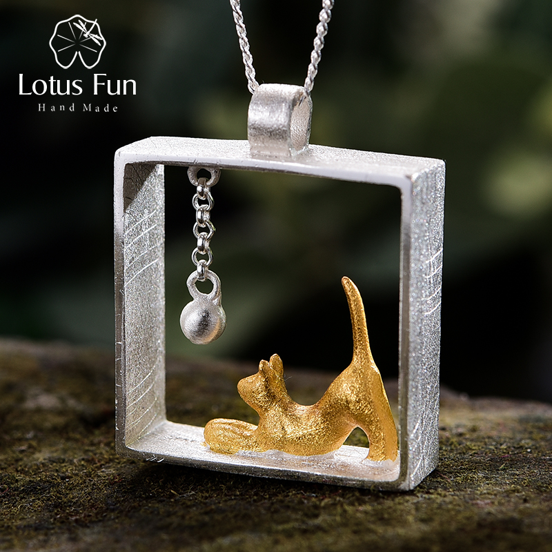 Lotus Fun Real 925 Sterling Silver Designer Fine Jewelry 18K Gold Fashion Cat Playing Balls Pendant Without Necklace For Women