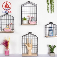 LUCKK Modern Iron Wrought Metal Birdcage Garden Children Room Kids Decoration Wall Hanging Display Stand Storage Shelf Clapboard