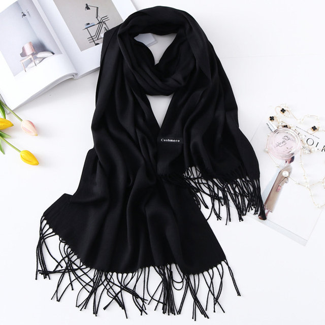 Women Cashmere Scarves with Tassel 2019 Autumn New Soft Solid Color Warm Long Wraps Scarf Casual Lady Winter Foulard Head Shawl
