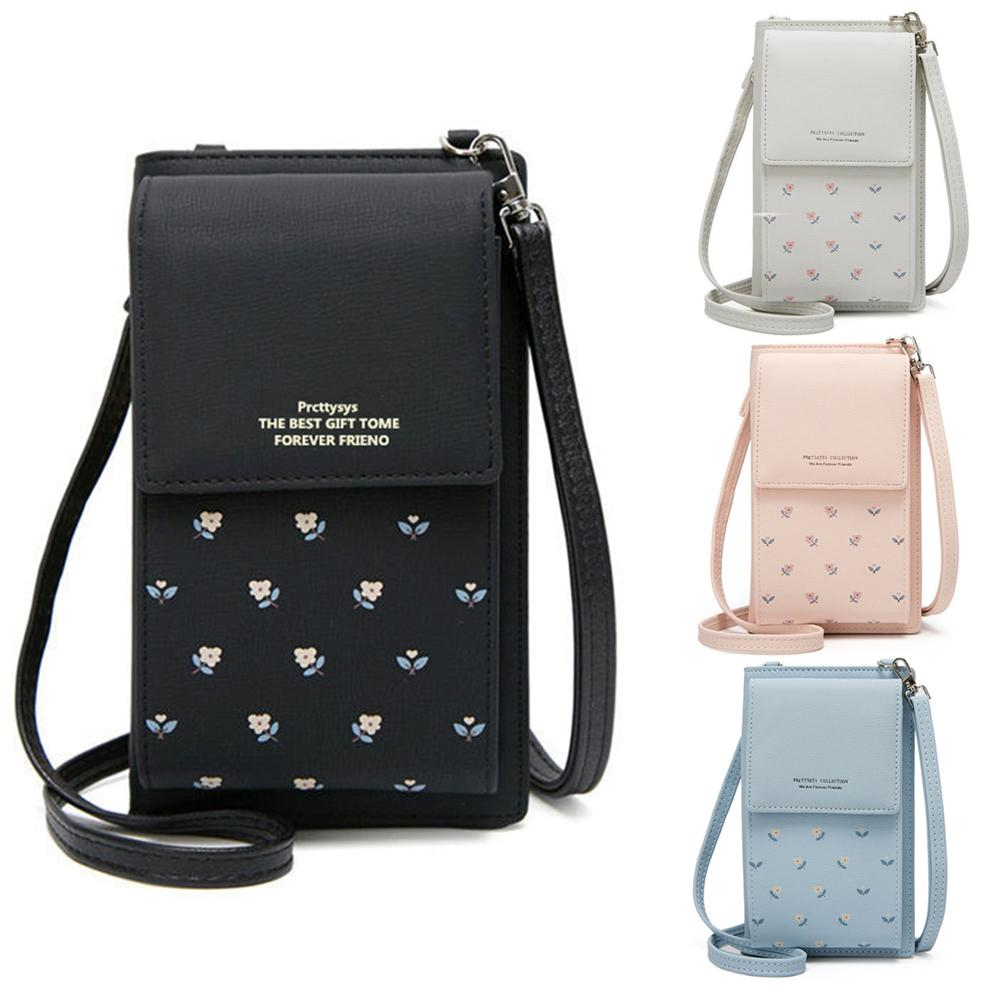Cell Phone Wallet Big Card Holders Women Floral Print Mini Faux Leather Crossbody Shoulder Bag Card Purse Messenger Straps Bag