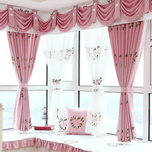 Warm Pastoral Fresh Cotton and Hemp Embroidery Pink Princess Curtains for Living Dining Room Bedroom.(China)