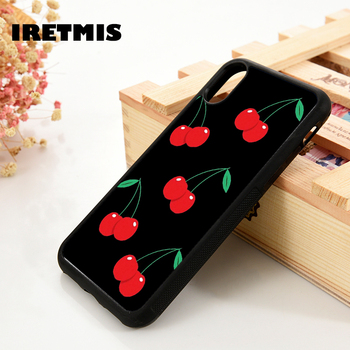 Iretmis 5 5S SE 6 6S Soft TPU Silicone Rubber phone case cover for iPhone 7 8 plus X Xs 11 Pro Max XR Black Red Cherry
