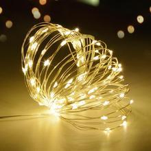 2 м, 5 м, 10 м, сказочный светодиодный светильник, водонепроницаемый, медный провод, гирлянда, Рождественский, Свадебный, декоративный светильник, садовый, на батарейках