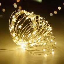 2 m 5 10 m fada led strip luz fio de cobre à prova dwaterproof água corda decoração do casamento natal luzes jardim bateria operado