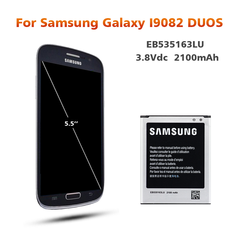 Original Battery For SAMSUNG i9082 EB535163LU 2100mAh For Samsung Galaxy S3 Mini i9080 SM i9168 i9060 Replacement Phone Battery in Mobile Phone Batteries from Cellphones Telecommunications
