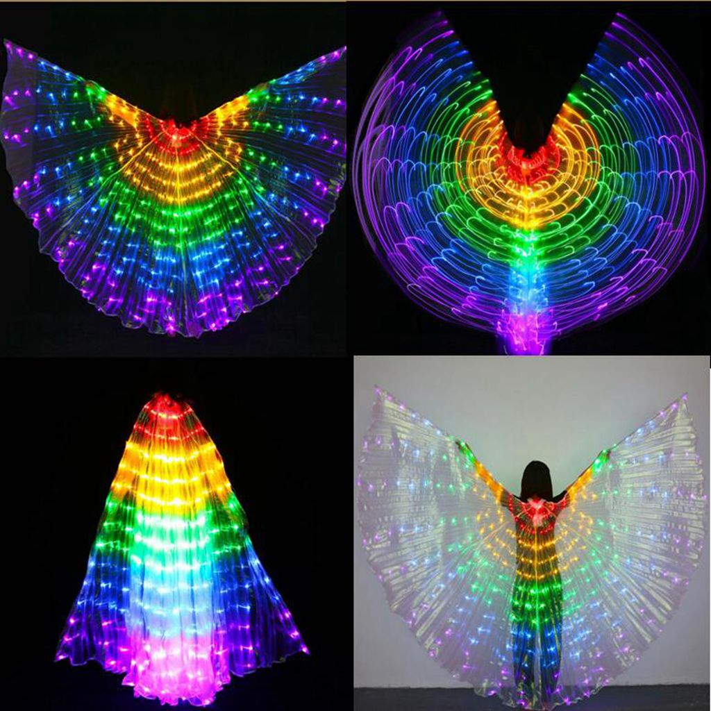 Girls Belly Dance LED Isis Wings Egyptian Indian Club Light up Dancing Wings