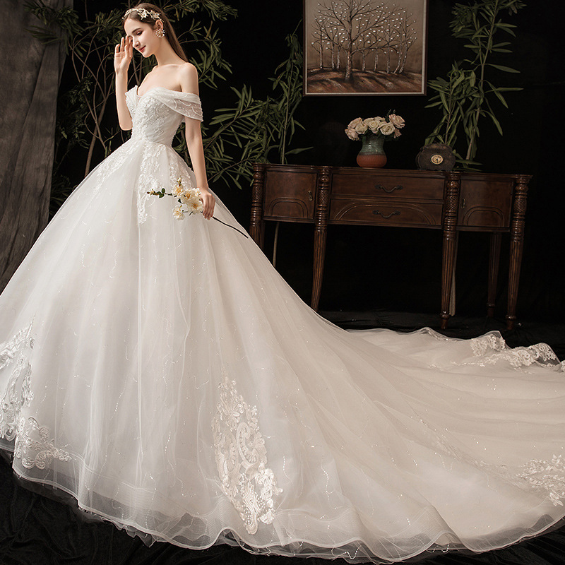 Sexy Sweetheart Lace 2019 Applique Gown Off Shoulder Applique Lace Sweetheart Puffy Vestido De Novia