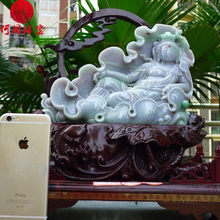 Hezhou jewelry!Myanmar natural jade!Guanyin hand carved decoration!Living room desk accessories!4.6jins(China)