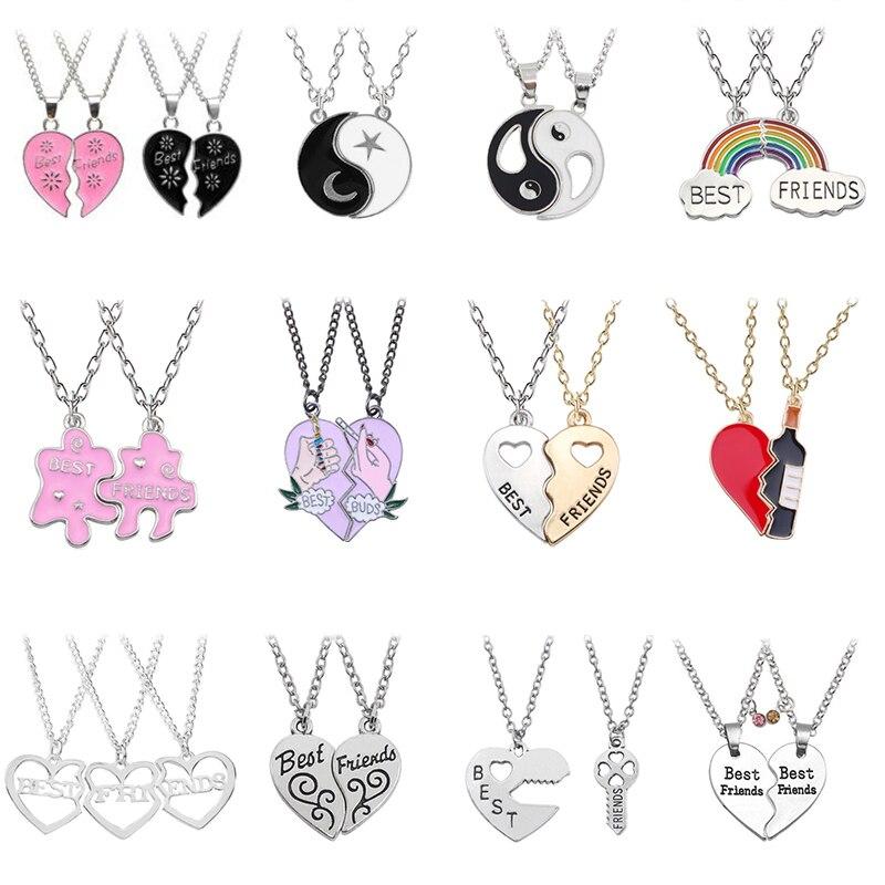 Комплект из 2 предметов, модное ожерелье с подвеской для лучших друзей, Радужное разбитое сердце, ювелирные изделия для друзей
