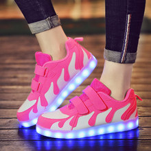 ULKNN Tenis Led Shoes Glowing Sneakers for Boys and Girls Light Up Shoes for Kids Led Luminous Shoes Size 28-40 tenis infantil(China)