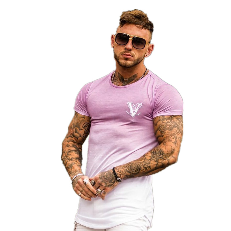 Gradient color Fashion T Shirt Men Fast compression Breathable Mens Short Sleeve Fitness Mens t shirt Gyms Tee Tight Casual Top in T Shirts from Men 39 s Clothing