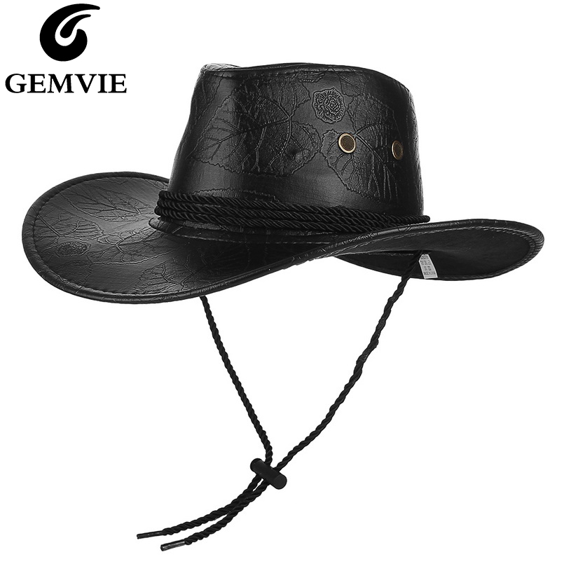 GEMVIE Classical Western <font><b>Cowboy</b></font> <font><b>Hat</b></font> For Men Women PU Leather Wide Brim Outdoor Sunhat With Adjustable Lace-Up Breathable Holes image